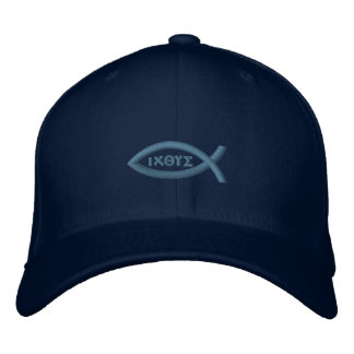 Ichthys Jesus Fish Christian Symbol Embroidered Hat