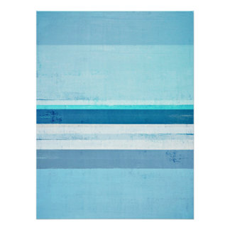 'Icing' Blue and Turquoise Abstract Art Poster