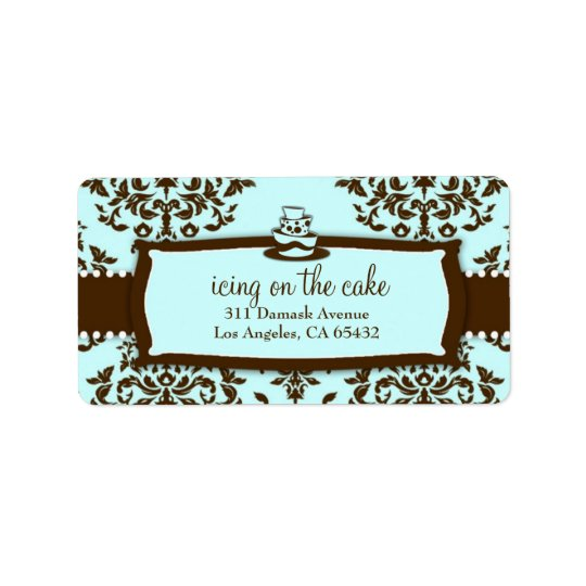 Icing on the Cake 3 Tier Chocolate Blue Address Label