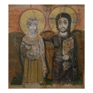 Icon depicting Abbott Mena with Christ Poster