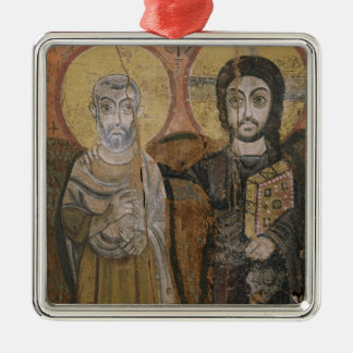 Icon depicting Abbott Mena with Christ Silver-Colored Square Decoration