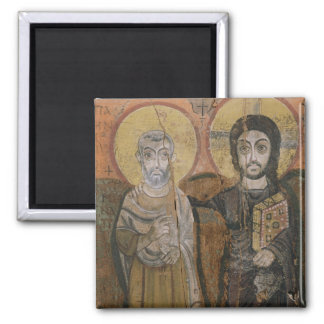 Icon depicting Abbott Mena with Christ Square Magnet