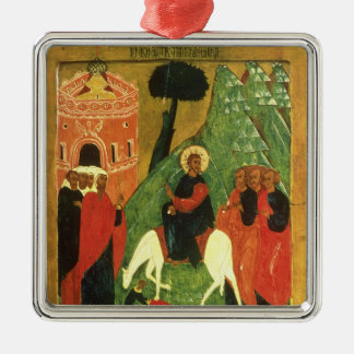 Icon depicting Christ's Entry into Jerusalem Silver-Colored Square Decoration