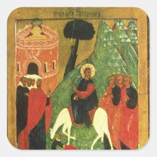 Icon depicting Christ's Entry into Jerusalem Square Sticker