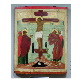 Icon depicting the Crucifixion with the Virgin Poster