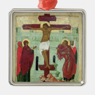 Icon depicting the Crucifixion with the Virgin Silver-Colored Square Decoration