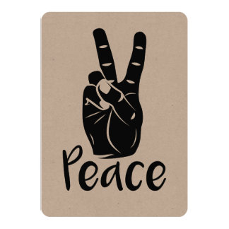 "Icon hand peace sign with text ""PEACE"" 13 Cm X 18 Cm Invitation Card"