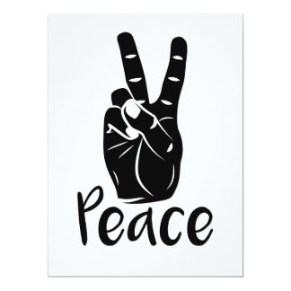 "Icon hand peace sign with text ""PEACE"" 17 Cm X 22 Cm Invitation Card"