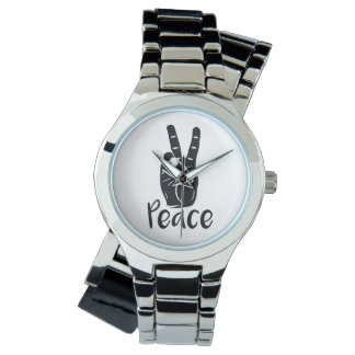 """Icon hand peace sign with text """"PEACE"""" Watch"""