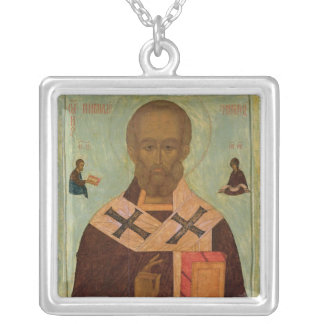 Icon of St. Nicholas Silver Plated Necklace