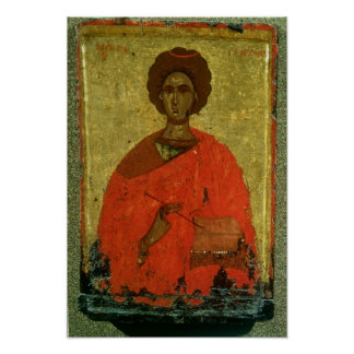 Icon of St. Pantaleon of Nicomedia Poster