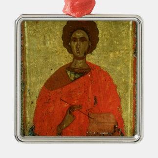 Icon of St. Pantaleon of Nicomedia Silver-Colored Square Decoration