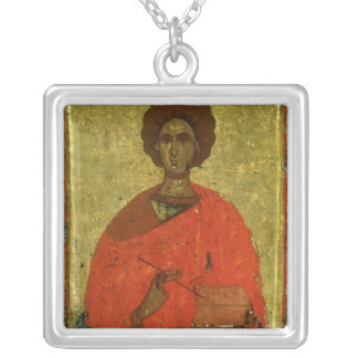 Icon of St. Pantaleon of Nicomedia Silver Plated Necklace