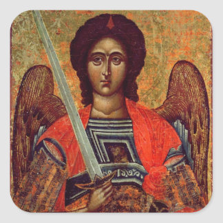 Icon of the Angel Michael, Greek, 18th century Square Sticker