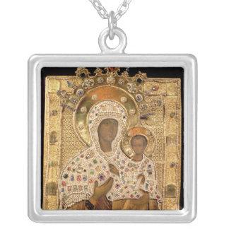 Icon of the Virgin, Smolenskaja monastery Square Pendant Necklace