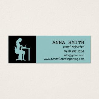 Icon Silhouette Court Reporter Typist Secretary Mini Business Card