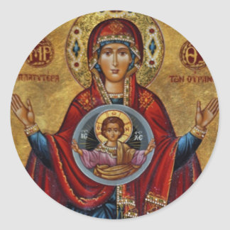 Iconic 15th Century Mary with Christ Child Classic Round Sticker