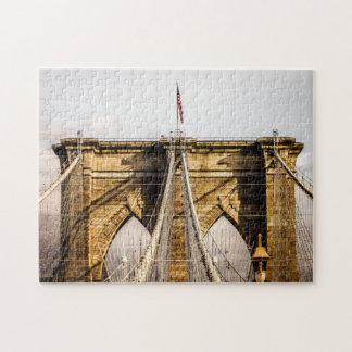 Iconic Brooklyn Bridge with Flag Puzzle