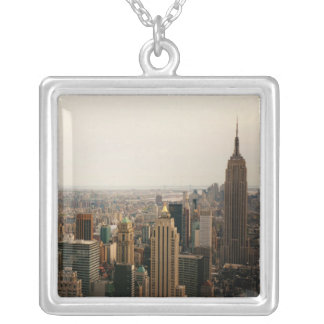 Iconic New York Cityscape Square Pendant Necklace