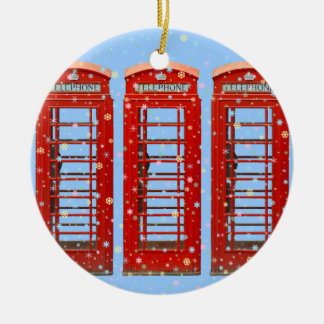 Iconic Red London Phone Boxes Pastel Snowflakes Christmas Ornament