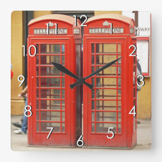 Iconic Red Telephone Boxes in London Wall Clocks