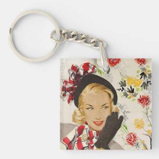 Iconic Retro Lady Image Key Ring