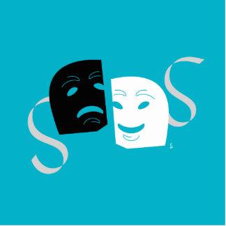 Iconographic Theatre Masks B+W Standing Photo Sculpture