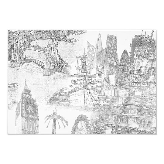 Icons of London - Digital Art Line Drawing