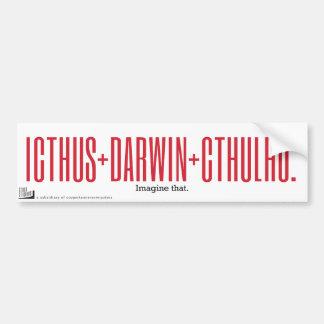 Icthus + Darwin + Cthulhu Bumper Sticker