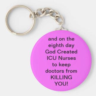 ICU Nurse Funny Gifts Basic Round Button Key Ring