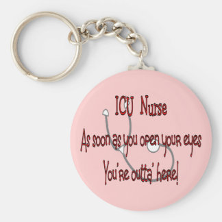 "ICU Nurse ""Open Eyes You're Outt'a Here"" Basic Round Button Key Ring"