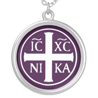 ICXC NIKA Christian Orthodox Religious Christogram Silver Plated Necklace