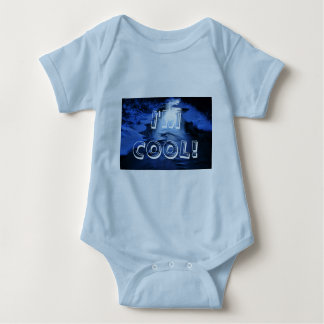 Icy and snowy river with winter blue baby bodysuit