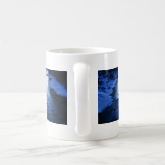 Icy and snowy river with winter blue basic white mug