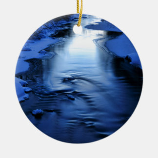 Icy and snowy river with winter blue round ceramic decoration