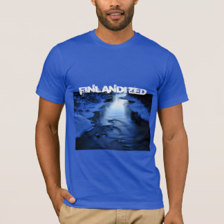 Icy and snowy river with winter blue T-Shirt