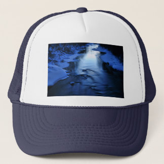 Icy and snowy river with winter blue trucker hat