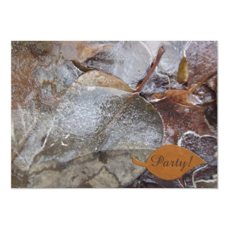 Icy Autumn Leaves Party Customized Invitation Cards