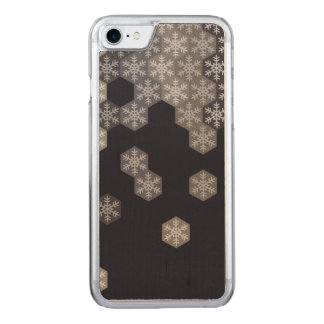 Icy Blue And Gray Winter Snowflake Hexagons Carved iPhone 8/7 Case