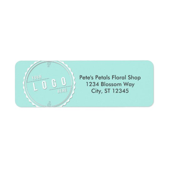 Icy Blue Business Logo Address Labels