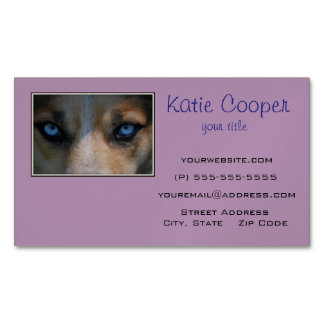 Icy Blue Canine Eyes Magnetic Business Cards