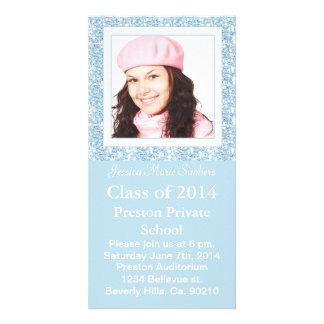 Icy Blue Glitter Like Graduate Photo Customised Photo Card