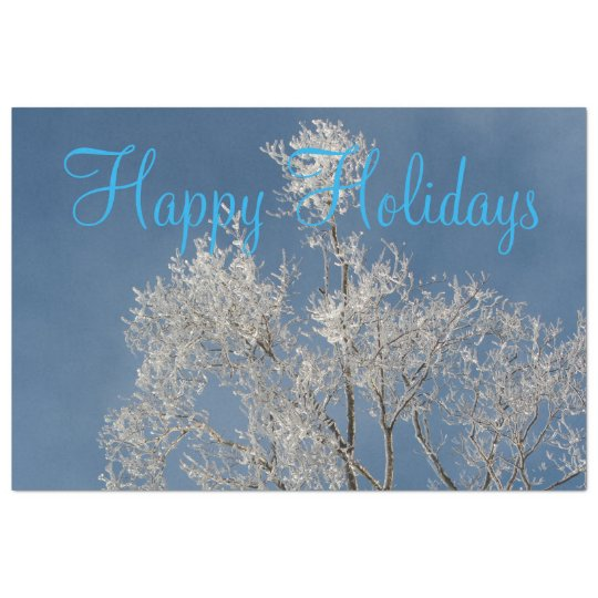 Icy Blue Happy Holiday Tissue Paper