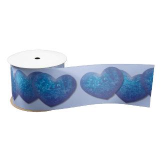 Icy blue hearts ribbon satin ribbon