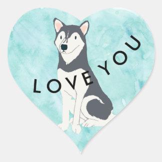 Icy Blue Husky Love You Heart Sticker