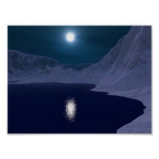 Icy Blue Moonlight Poster