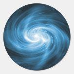 Icy Blue Nebula Wave Round Sticker