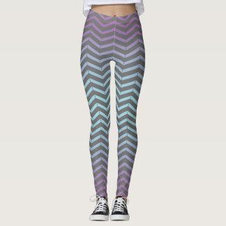 Icy Blue, Purple, Gray Chevron Pattern Art Design Leggings