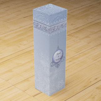 Icy Blue Snowflakes Custom Wine Box