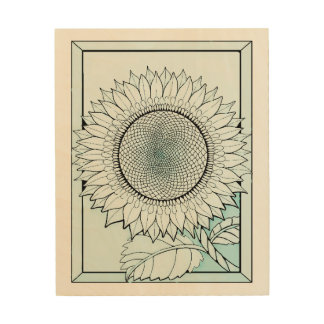 Icy Blue Sunflower Wood Wall Art